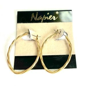 SOLD Napier Twisted Gold Braid Hoop Earrings